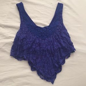 Blue floral crochet crop tank top